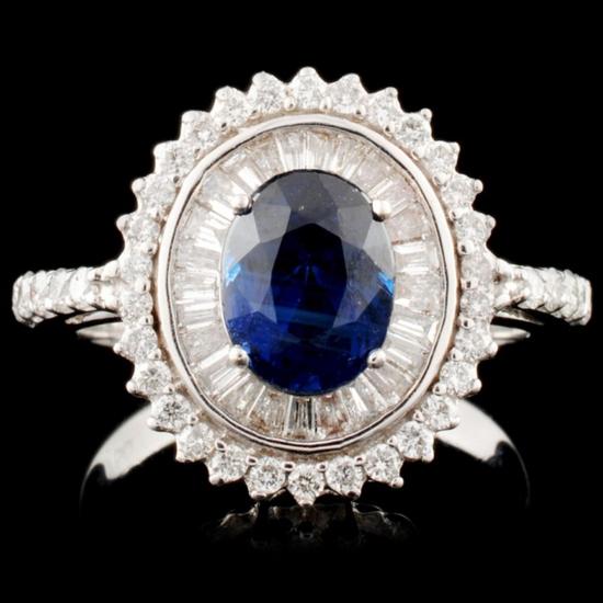 18K Gold 1.97ct Sapphire & 0.78ctw Diamond Ring