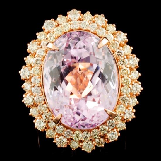 14K Gold 21.91ct Kunzite & 2.05ctw Diamond Ring