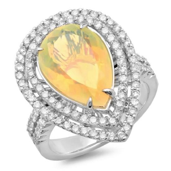 14K Gold 3.00ct Opal & 1.00ct Diamond Ring