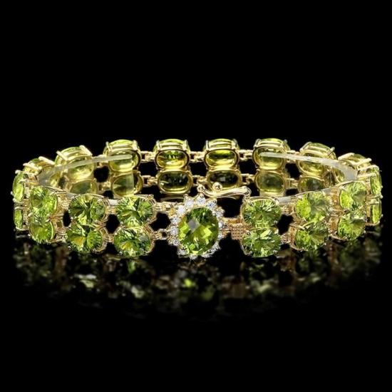 14k Gold 43.00ct Peridot & 0.60ct Diamond Bracelet