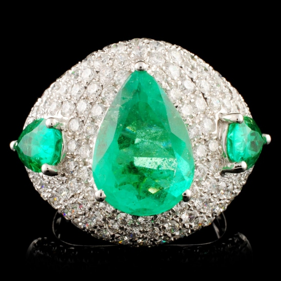 18K Gold 5.07ct Emerald & 2.52ctw Diamond Ring