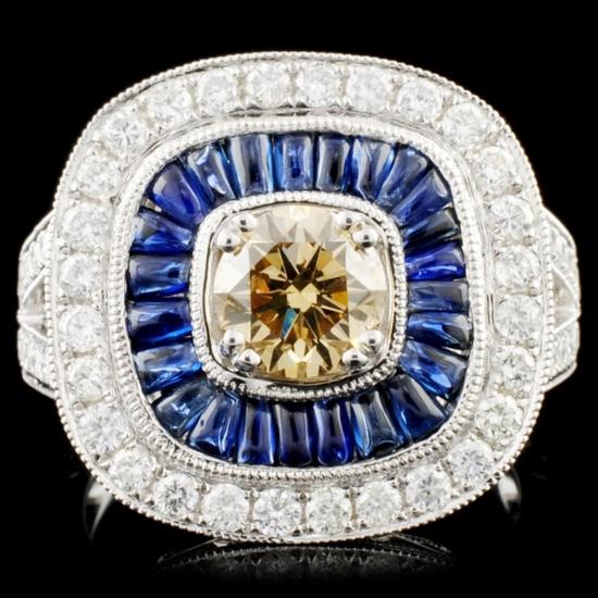 14K Gold  1.24ct Sapphire & 1.80ctw Diamond Ring