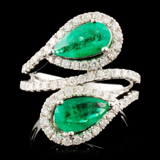 14K Gold 1.80ct Emerald & 0.76ctw Diamond Ring