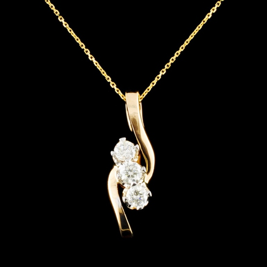 14K Gold 0.52ctw Diamond Pendant