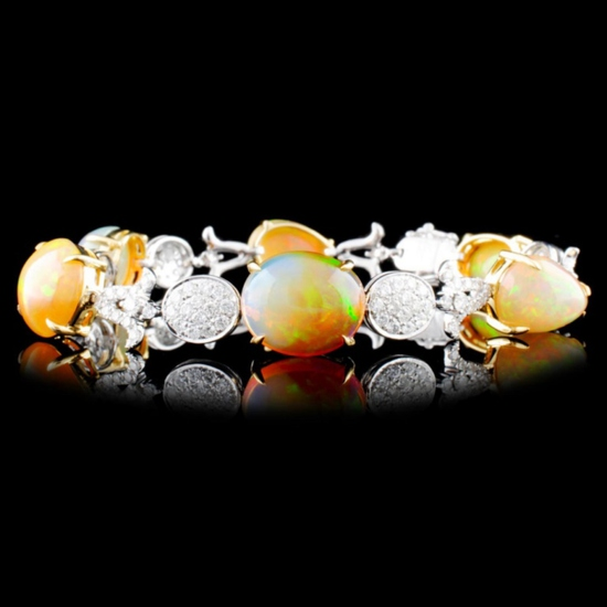 18K Gold 19.00ct Opal & 2.23ctw Diamond Bracelet