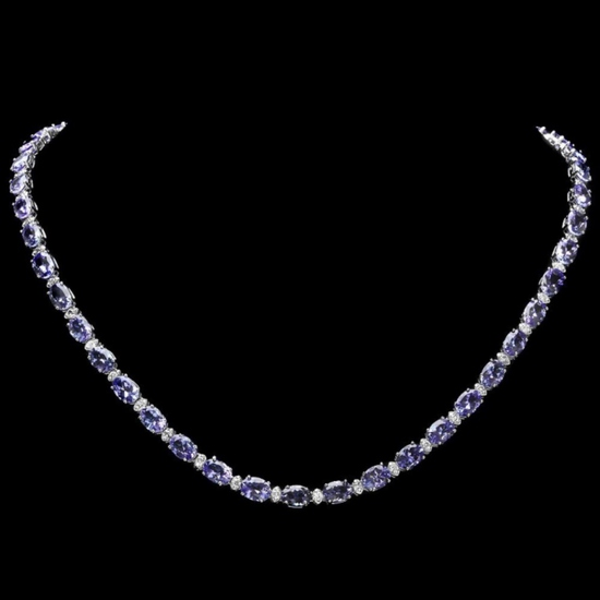 14k Gold 30.00ct Tanzanite & 1.00ct Diamond Neckl