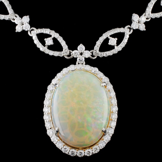 18K White Gold 17.25ct Opal & 10.73ct Diamond Neck