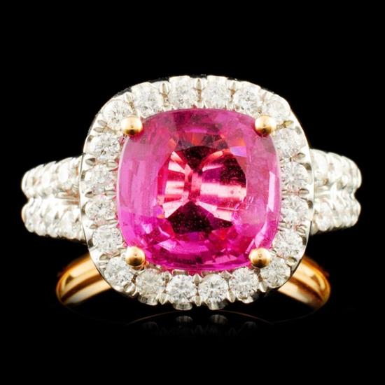 18K Gold 3.49ct Sapphire & 1.10ctw Diamond Ring