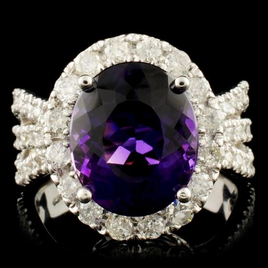 14K Gold 4.44ct Amethyst & 1.30ctw Diamond Ring