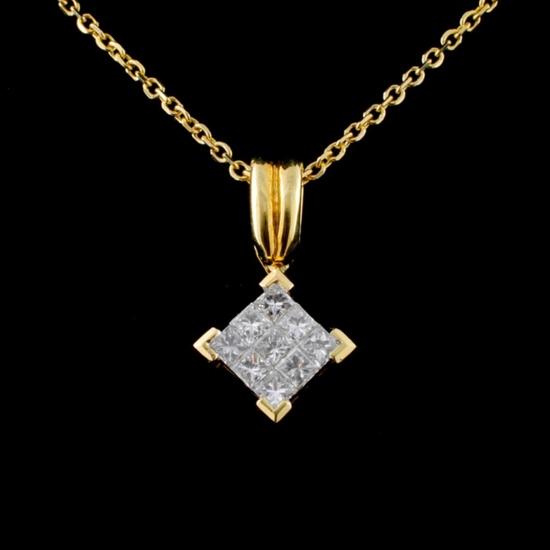 18K Yellow Gold 0.50ctw Diamond Pendant