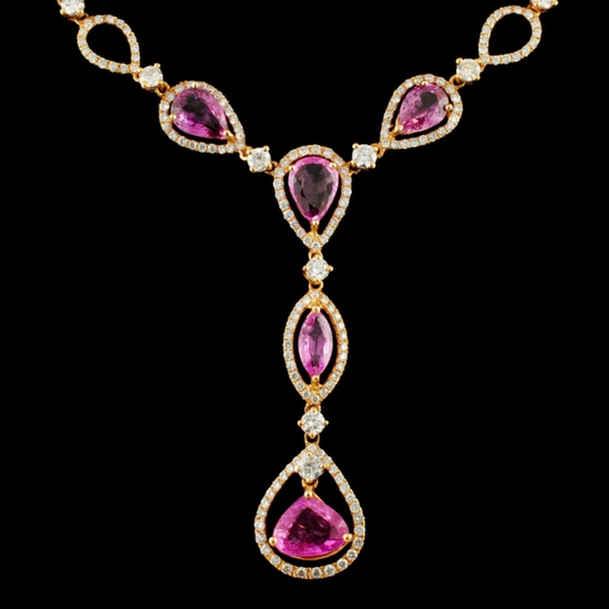 18K Gold 6.54ct Sapphire & 2.39ctw Diamond Necklac
