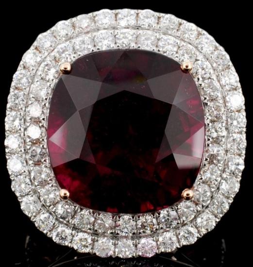18K Gold 18.74ct Tourmaline & 2.37ct Diamond Ring