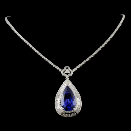 18K White Gold 11.38ct Tanzanite & 5.09ct Diamond