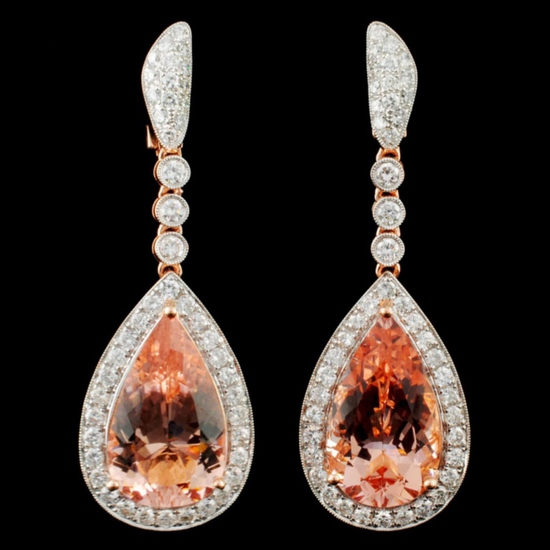 14K Gold 17.44ct Morganite & 2.61ctw Diamond Earri