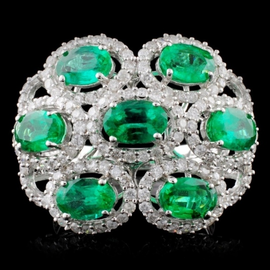 14K Gold 4.00ctw Emerald & 1.00ct Diamond Ring