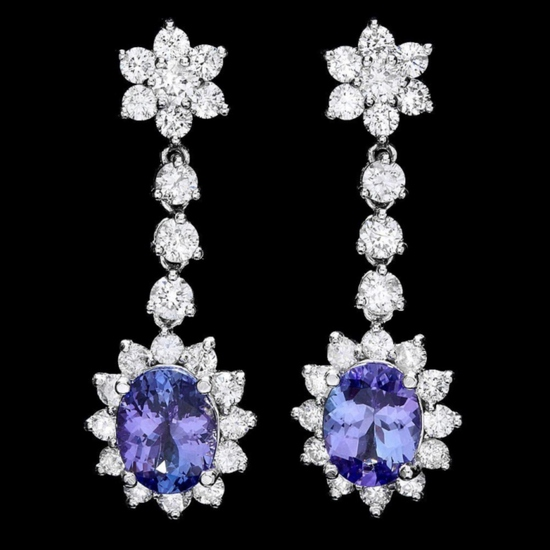 14k Gold 4.00ct Tanzanite & 3.00ct Diamond Earrin