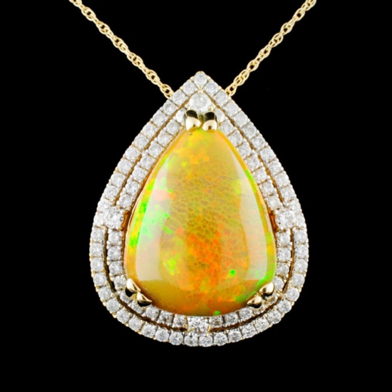 14K Gold 10.93ct Opal & 1.10ctw Diamond Pendant
