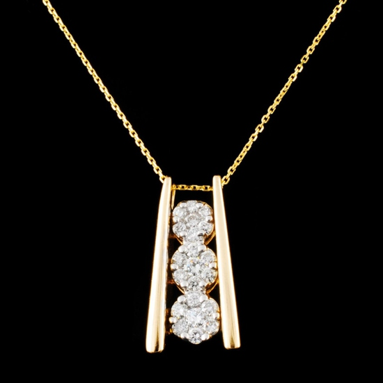 14K Gold 0.63ctw Diamond Pendant