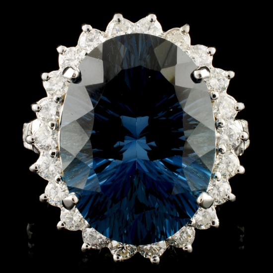 14K Gold 11.50ct Topaz & 1.65ctw Diamond Ring