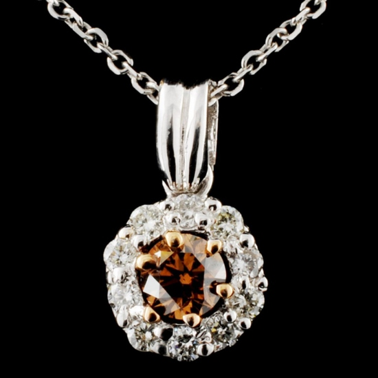 14K White Gold 0.58ctw Fancy Color Diamond Pendant