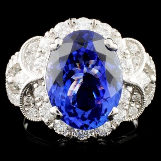 18K Gold 6.17ct Tanzanite & 1.32ctw Diamond Ring