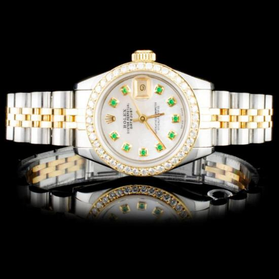 Rolex YG/SS DateJust Diamond Ladies Watch