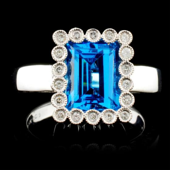 14K Gold 3.00ct Topaz & 0.12ctw Diamond Ring