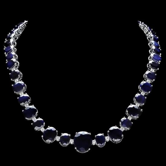 14k Gold 170.00ct Sapphire & 2.00ct Diam Necklace