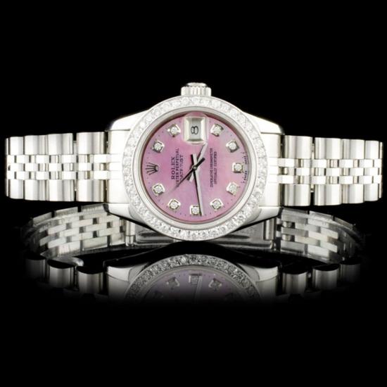 Rolex SS DateJust Diamond Ladies Wristwatch