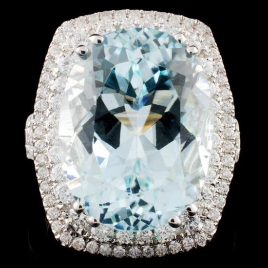 18K White Gold 13.87ct Tourmaline & 1.04ct Diamond