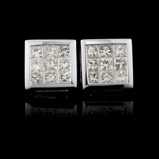 18K White Gold 0.92ctw Diamond Earrings