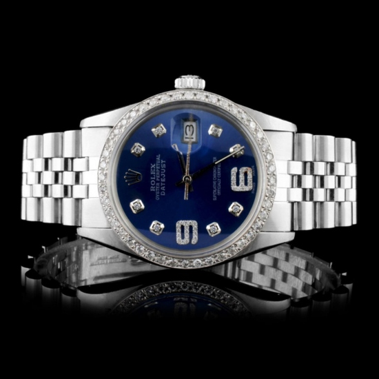 Rolex SS DateJust 36MM Diamond Watch