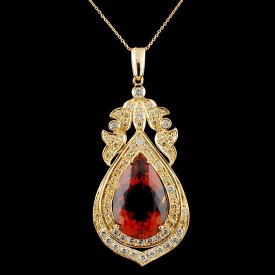 14K Gold 14.50ct Citrine & 1.67ctw Diamond Pendant
