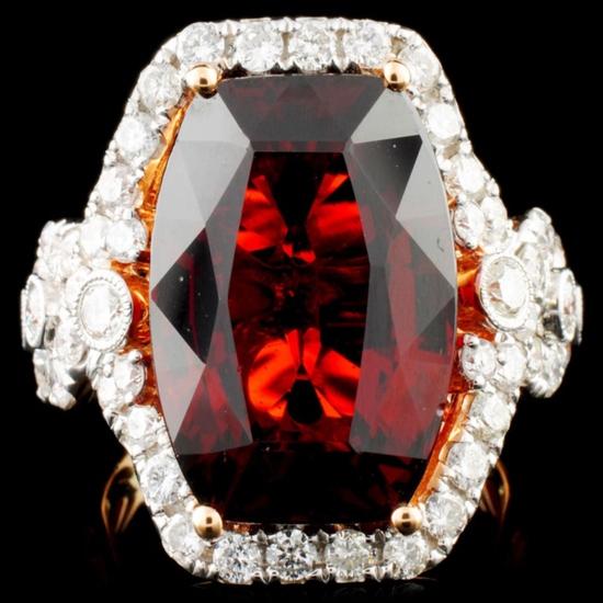 18K Gold 16.46ct Garnet & 1.81ctw Diamond Ring