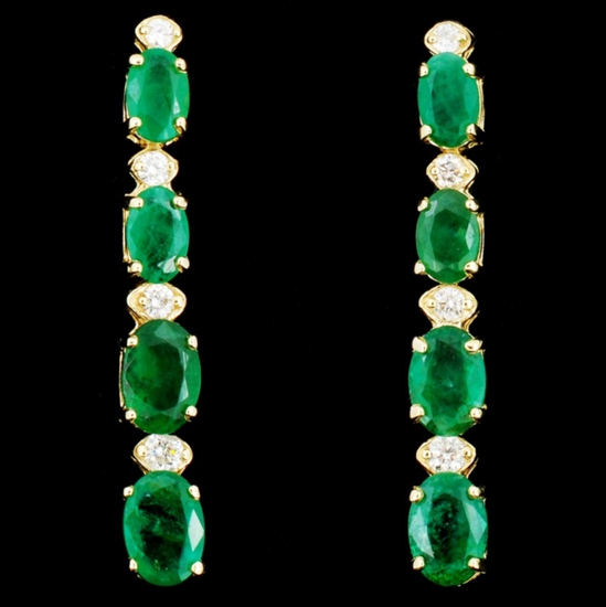14K Gold 5.00ct Emerald & 0.35ctw Diamond Earrings