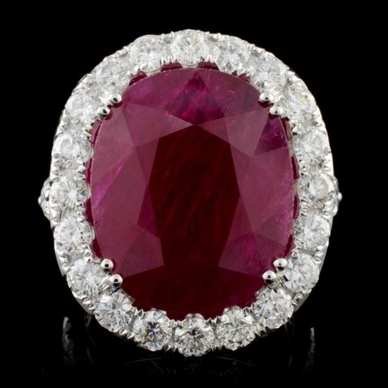 18K White Gold 15.55ct Ruby & 3.34ct Diamond Ring