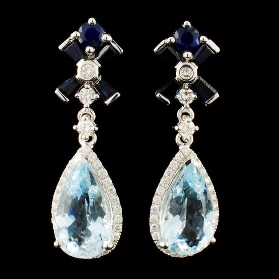 14K Gold 5.38ct Aquamarine & 0.64ctw Diamond Earri