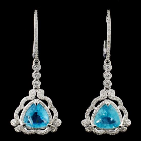 14K Gold 2.87ct Apatite & 0.69ctw Diamond Earrings
