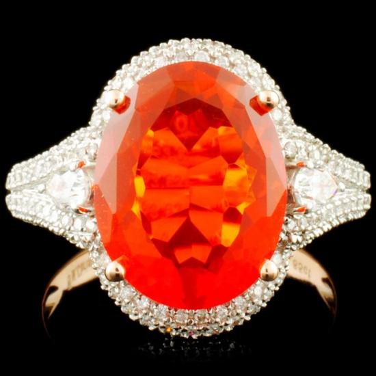 14K Gold 3.62ct Opal & 0.60ctw Diamond Ring