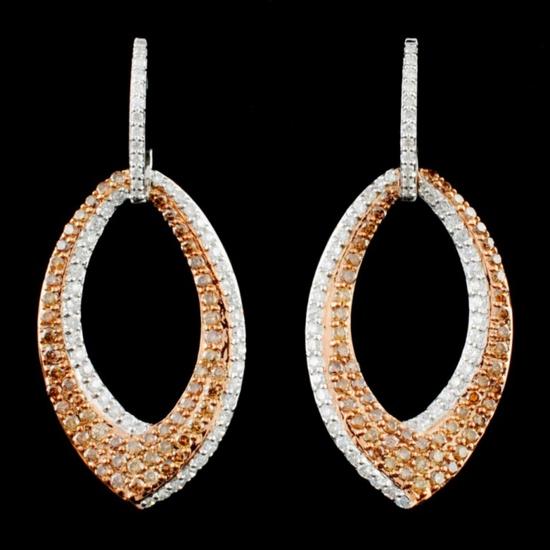 14K Gold 1.46ctw Fancy Color Diamond Earrings