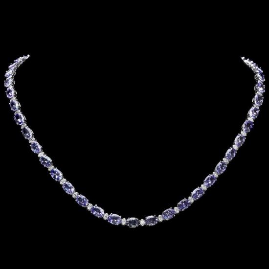 14k Gold 30.00ct Tanzanite & 1.00ct Diamond Neckl