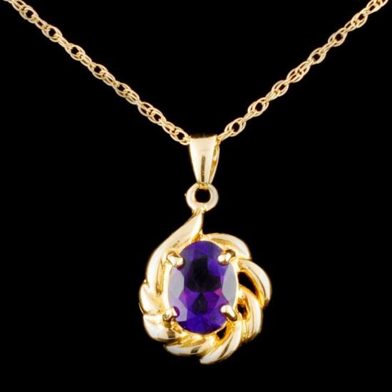 14K Gold 1.23ct Amethyst Pendant