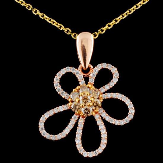 14K Gold 0.56ctw Fancy Diamond Pendant