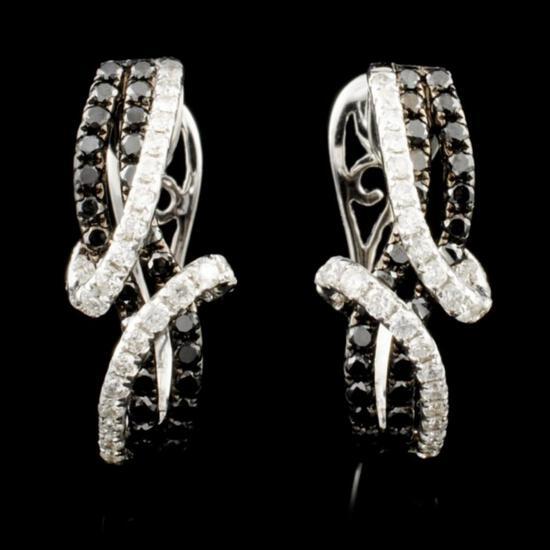 14K Gold 1.01ctw Fancy Color Diamond Earrings