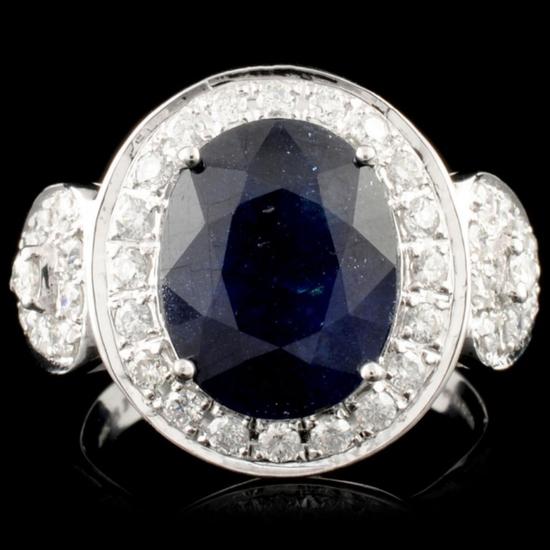 14K Gold 4.72ct Sapphire & 0.73ctw Diamond Ring