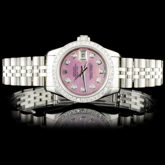 Rolex SS DateJust Diamond Ladies Wristwatch
