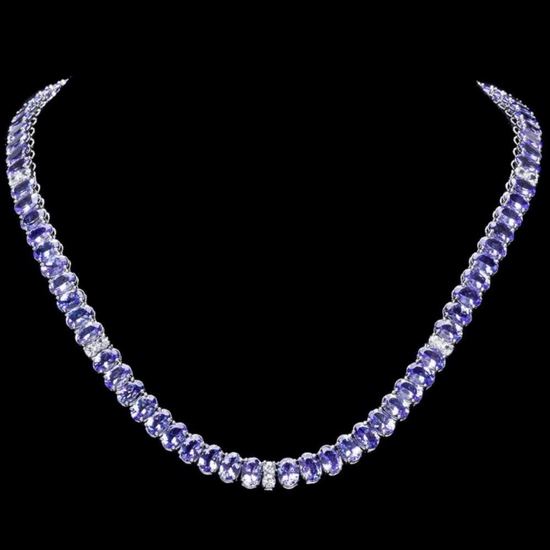 14k Gold 55.00ct Tanzanite & 1.35ct Diamond Neckl