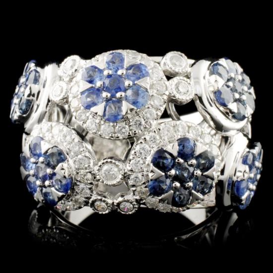 14K Gold 2.48ctw Sapphire & 0.78ctw Diamond Ring