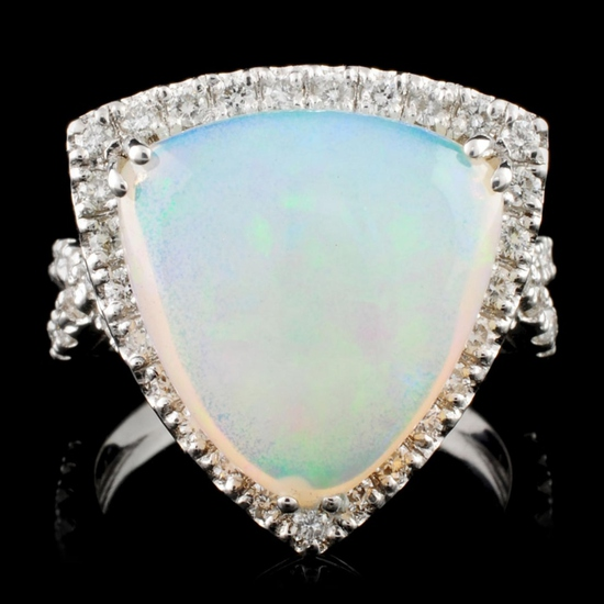 18K Gold 5.66ct Opal & 1.17ctw Diamond Ring