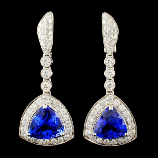 18K Gold 8.01ct Tanzanite & 2.10ctw Diamond Earrin